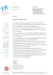 Reference Letter Testimonial by Singapore Children's Society
