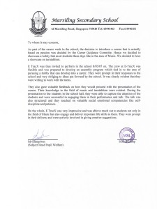 Reference Letter Testimonial by Marsiling Secondary School