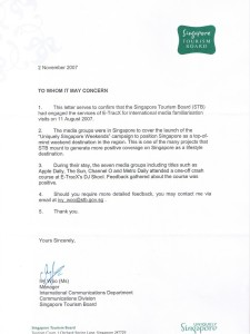Reference Letter Testimonial by Singapore Tourism Board